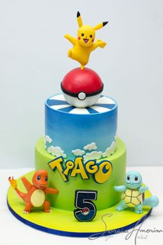 Pokemon go cake with pikachu, charmender, square