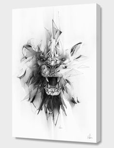 """Stone Lion"", Numbered Edition Canvas Print by Alexis Marcou - From $69.00 - Curioos"