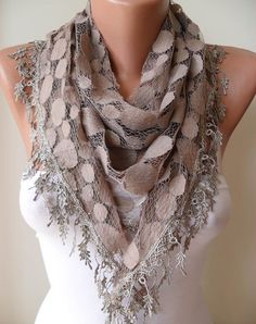 Light Brown  Patterned Tulle Scarf with Same Color by SwedishShop, $17.90