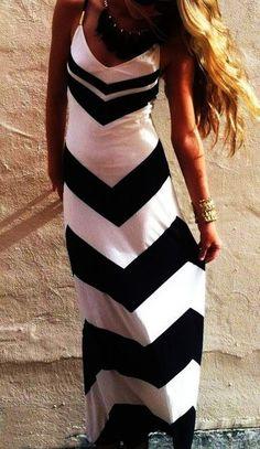 White Wave Striped Condole Belt Sexy Slim Maxi Dress