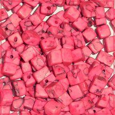 95 5x5mm Cubes Pink Imitation Turquoise Gemstone Loose Beads $2.75 at CDVDMart