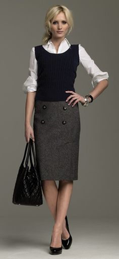 [pre-sorted] White oxford, navy sweater vest (or just sleeveless knit top), gray tweed skirt, black shoes