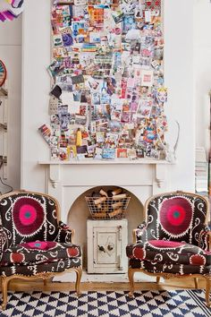 I would love to have this! A huge collage of pictures and memorable things as the focal point in the room! Love the messy but neat look. I will do this one day!