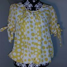 Yellow and White Polka Dot Top! Yellow and White Polka Dot Top, short sleeve with ribbons! Very Cute maude Tops Blouses