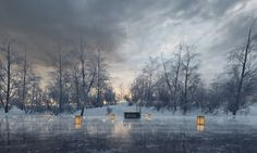Winter scenery. Visualization created by Wizard Production - Architecture visualization studio