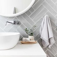 Grey herringbone tile bathroom wall - April 13 2019 at Laundry In Bathroom, Classic Bathroom, Trendy Bathroom, Bathroom Design Trends, Modern Bathroom, Classic Bathroom Design, Herringbone Tile, Herringbone Tile Bathroom, Bathroom Decor