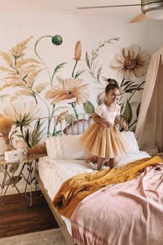 Jump into Spring with this beautiful wildflower wallpaper! Perfect for your baby girls nursery or toddlers bedroom, these bright flowers will help them grow✨ floral wallpaper, floral kids wall, girls bedroom, wildflower wallpaper. Big Girl Bedrooms, Little Girl Rooms, Girls Bedroom, Girl Toddler Bedroom, Kids Bedroom Wallpaper, Baby Girl Wallpaper, Flower Wallpaper, Floral Bedroom, Luxury Bedrooms
