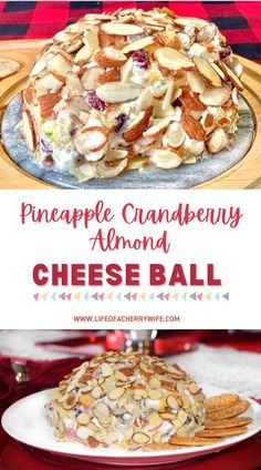 Pineapple cranberry almond cheese ball is the perfect appetizer for parties and get togethers. Perfect easy to make, no bake, finger food.