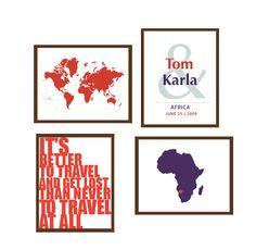 Travel Honeymoon Artwork Set for Couples Honeymoon by TexturedINK, $42.00