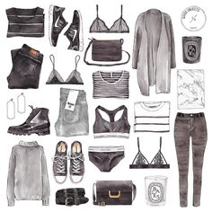 "More illustrations LINE BOTWIN ""girly illustrations "" Good objects - Monochrome edition Fashion Design Drawings, Fashion Sketches, Fashion Illustrations, Moda Fashion, Fashion Art, Pullover Rock, Monochrome, New Outfits, Fashion Outfits"