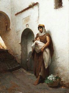 Algérie - Peintre Français Hippolyte Lazerges (1817-1887), Huile sur toile 1881, Titre : Maternité