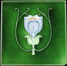 Antique late art nouveau tile from Lea & Boulton depicting a lavender stylized tulip on a green field; Antique Tiles, Vintage Tile, Antique Art, Tile Art, Mosaic Art, Azulejos Art Nouveau, Illustrations, Illustration Art, Photos Booth