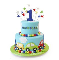 Baby Cake Images - Cakes pictures for babies. Cakes for baby birthday and baby celebrations. Baby cake images visit website for. Boys First Birthday Cake, Baby Birthday Cakes, Baby Boy Cakes, Happy Birthday, Bolo Fack, Rodjendanske Torte, Pink Cake Box, Transportation Birthday, Themed Cakes