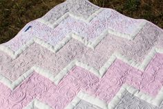 Baby Quilt - Chevron - Longarm Quilting - white, light pink and grey