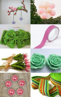 Green and pink by Nilgun on Etsy--Pinned with TreasuryPin.com