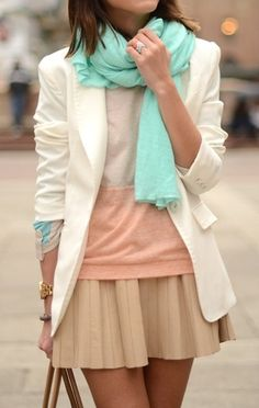 pastel outfit Love the scarf! Pastel Outfit, Neutral Outfit, Spring Summer Fashion, Spring Outfits, Spring Style, Winter Fashion, Fashion Beauty, Womens Fashion, Spring Looks