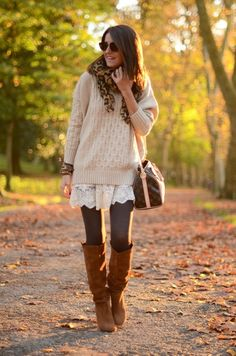 Cream sweater and white lace skirt with tights and tan suede boots