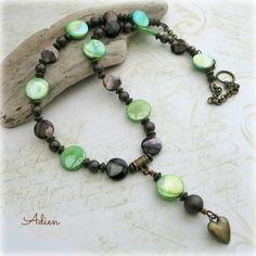 Lime Green and Chocolate Brown Mother of Pearl Shell Necklace £10.95