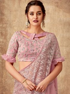 Pink Tissue Fancy Layered Lehenga Saree with Designer Blouse - Blouse designs Blouse Designs High Neck, Stylish Blouse Design, Fancy Blouse Designs, Latest Saree Blouse Designs, Blouse Designs Lehenga, Kurti Back Neck Designs, Latest Blouse Patterns, Blouse Neck Patterns, Netted Blouse Designs