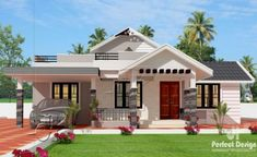 This one storey house design with roof deck is designed to be built in a 114 square meter lot. Simple and elegant front perspective. With 3 bedrooms, one serving as masters bedroom with en-suite bath Single Floor House Design, 2 Storey House Design, Simple House Design, House Design Photos, House Front Design, Roof Design, Tiny House Design, Modern House Design, Exterior Design