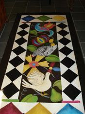 Flying Canvas Studios - innovative and customized art for your home Painted Floor Cloths, Painted Rug, Hand Painted Canvas, Painted Floors, Hand Painted Furniture, Furniture Decor, Drop Cloth Projects, Vintage Crafts, Vinyl Flooring