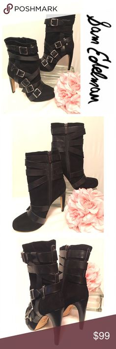 """Sam Edelman """"Kenny"""" Booties Awesome black suede Sam Edelman booties with leather strap and buckles.  Pewter colored zipper on inner side.  4.5"""" heels.  Shoes are like brand new.  Small dings on right heel.   Barely noticeable Sam Edelman Shoes Ankle Boots & Booties"""
