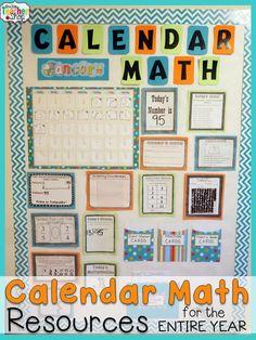 Calendar Math for Upper Elementary BUNDLE! Includes Bulletin Board Activities, Calendar Pattern Cards, Student Workbooks, and MORE! Calendar Math made easy.