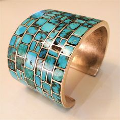 RARE Navajo Philander BEGAY MCM Modern MUSEUM Sterling & Turquoise Inlay Cuff in Collectibles, Cultures & Ethnicities, Native American: US | eBay