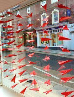 hanging paper aeroplanes storefront - Google Search