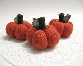 Three Mini Fabric Pumpkins / Sweater Pumpkins / Handmade from Felted Wool Sweaters - No. 626