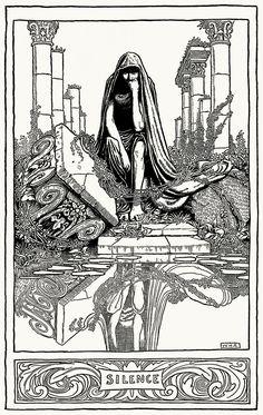 Silence.  William Heath Robinson, from The poems of Edgar Allan Poe, London, New York, 1900.