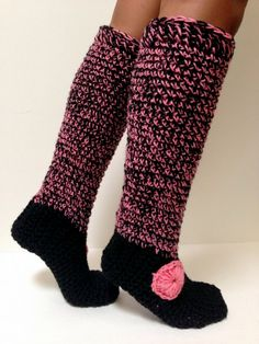 Crochet House Slipper and Leg warmer Combination. by Africancrab, $15.00