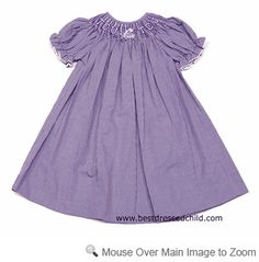 Vive la Fete Collegiate - Girls Purple Gingham Smocked Bishop Dress - TCU  (dress is also available in Ft. Worth at Snug as a Bug)