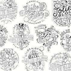 Joli Blon process work . . . #drinkdesign #brandidentity #beerart #packaging #cowgirl #craftbeer #brandlogo #processart #logotype #typegang #letteringart #badgedesign #elementsofart #logosai #typeyeah #logoinspiration #typetopia #logoconcept #logodesigns #letteringco #stubbybottle #supplyanddesign #processart #lettering #handlettering #goodtype #typelove #horse #packagingdesign #blondale