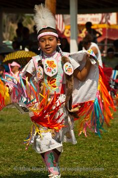 Powwow, kids, Fancy Shawl Dancer, Crow Fair, Crow Reservation, Montana. Allen Russell photography