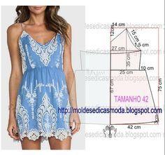 Passo a passo construção molde de vestido. O molde encontra-se no tamanho 42. A ilustração do molde de vestido não tem valor de costura.