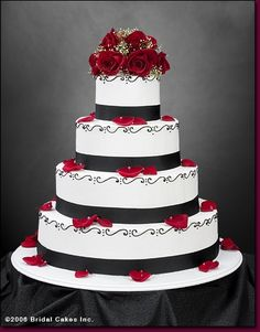 Black and white wedding cakes with red roses i think i may like this cake more :) but with my pink