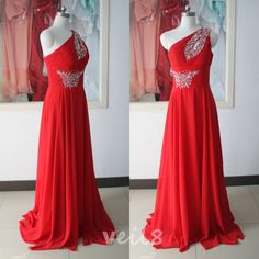 Sexy red shoulder sequined chiffon beaded evening dress bridesmaid dress custom peach wedding party dress sexy cocktail dresses