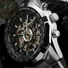 Relógio Clássico vencedor, marca de luxo dos homens. Skeleton automático, mecânica militar, assista Men prata completo. Steel Band de aço inoxidável.