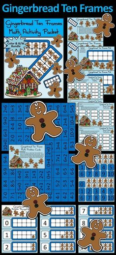 Gingerbread Ten Frames Christmas Math Activity Packet: Give your students a fun and festive way to practice their math addition and subtraction facts in a hands-on way!  Gingerbread Ten Frames Include: * Student Work Mat * Instruction Set * Ten Frames Num