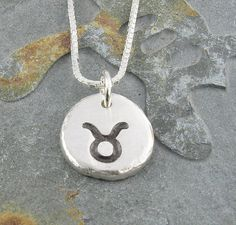 Taurus Zodiac Necklace,Organic Rustic Recycled Sterling Silver Zodiac Jewelry/FREE SHIPPING