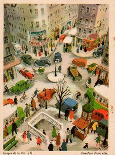 New French Vintage School Poster of Paris, Giclee Map Quartier Deco Retro, Collage, Vintage School, Naive Art, Children's Book Illustration, Art Design, Illustrations Posters, Folk Art, Graphic Art