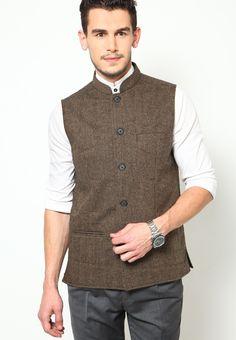 Even Striped Brown Nehru Jacket -http://www.jabongworld.com/striped-brown-nehru-jacket-581520.html
