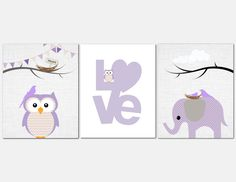 Purple Owl Elephant Love Wall Art Kids Wall Art Lilac by vtdesigns