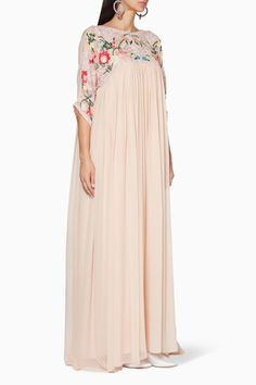Shop Pankaj & Nidhi Pink Pastel-Pink Embroidered Megan Gown for Women Modern Hijab Fashion, Abaya Fashion, Look Fashion, Fashion Dresses, Moslem Fashion, Mode Abaya, Caftan Dress, Kaftan, Evening Dresses