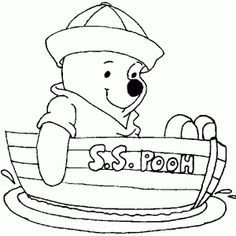 Pooh On Boat Coloring Page