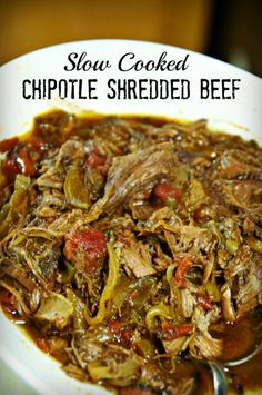 This slow cooker chipotle shredded beef recipe is so good out of the crock pot in tacos or on a taco salad. from Beyer Beware Crockpot Dishes, Crock Pot Slow Cooker, Crock Pot Cooking, Beef Dishes, Slow Cooker Recipes, Crockpot Recipes, Paleo Recipes, Mexican Food Recipes, Cooking Recipes