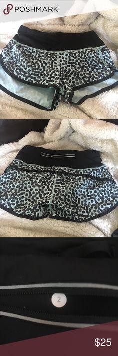 Mint green/black leopard print lululemon shorts Very good condition, slightly use and still look brand new lululemon athletica Shorts