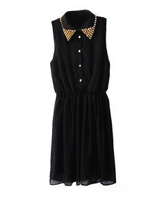 Spiked Collar Chiffon Shirt Dress