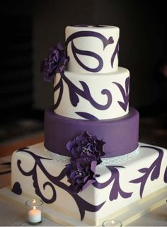 Purple and White Wedding Cake with Flowers - try ...